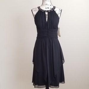 Eliza J Beaded Shirred Keyhole Dress  Sz 12